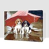 I Cani sotto l'ombrello Pittura a Olio Fai-da-Te dai Numeri Pittura a Mano Animale Pittura Digitale su Tela per la Decorazione Domestica