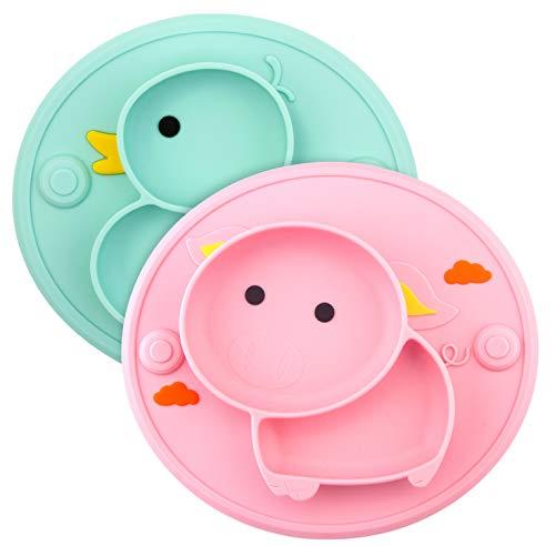 Platos de silicona para bebé divididos – 2 manteles individuales antideslizantes para alimentación infantil con succión para niños bebés y niños