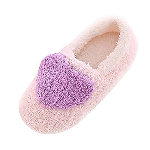 Pantuflas para Mujer, Cálido Mullido Pantuflas, Dedo del pie Cerrado, Zapatos Warmer Peluche, Zapatillas de Estar por casa con Suela Antideslizante Adecuado para Interiores y Exteriores ,Púrpura,39