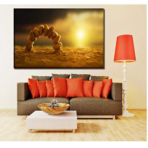 Gtfzjb Canvas Hd Print Foto's Woonkamer Wall Art Poster 1 Stuk Zonlicht Op Stenen Schilderen Thuis Decoratieve Frame