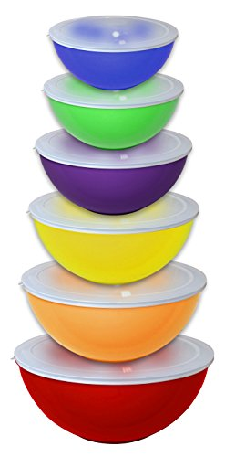 Gourmet Home Products 12 Piece Nested Polypropylene Mixing Bowl Food Storage Set with Lids, Red