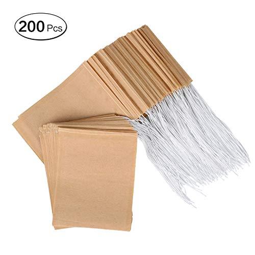 LANGING 200 Pack Wegwerp Thee Filter Tassen Natuurlijke Ongebleekte Papier Infuser Trekkoord Lege Teabags voor Losbladige Thee