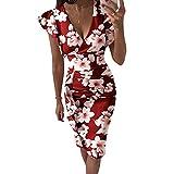 Briskorry V-Ausschnitt Blumen Etuikleider Knielang Business Kleider Damen Sommer Elegante Bustier Festkleider Sexy Rüschensaum Gerafftes Ärmelloses Enges Kleid Partykleid Vintage Dress