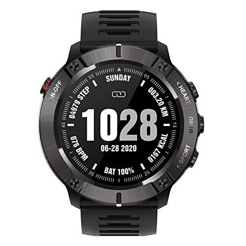 Reloj deportivo inteligente rastreador de ejercicios Bluetooth reloj de pulsera militar resistente al agua con frecuencia cardíaca reproducción de música para hombres mujeres Android e Ios,Negro