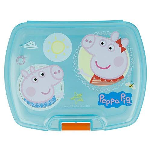 Peppa Pig 2004, Sandwichera Premium Rectangular Producto de plástico; Libre BPA; Dimensiones 18x14x7 cm