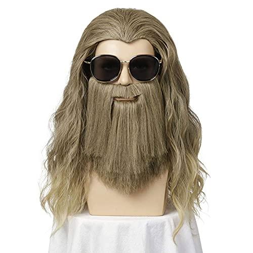 Nuevo Peluca de Hombre Peluca de Mago Color Gris en Conjunto con una Barba Gris para Hombres y Mujeres Disfraz para Carnaval Víspera de Todos los Santos