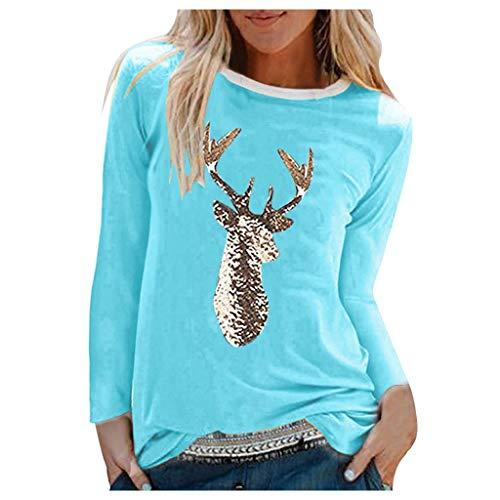 FOTBIMK T-Shirt À Manches Longues avec Imprimé Noël pour Dames Tee Shirt À Col Rond pour Femmes Pull Top Blouse Sweat-Shirt Bleu XL
