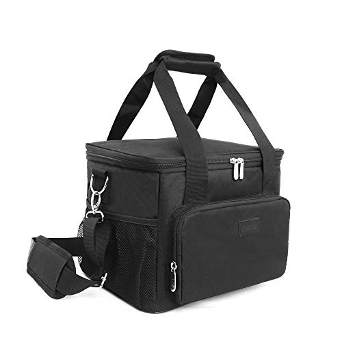 Lunch Bags for Women/Men, Insulated Lunch Bag for Work Office School Picnic - Large Lunch Cooler Bag Leakproof Lunch Box with Adjustable Shoulder Strap for Adults - Black(15L)
