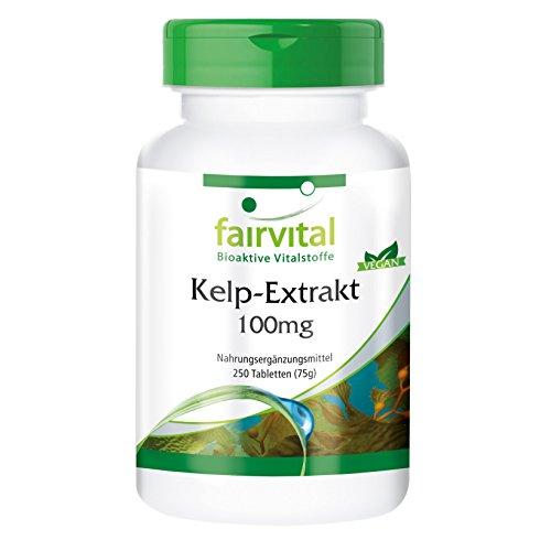 Kelp 100mg - Extracto VEGANO de Alga Kelp - 150µg de yodo natural - Fucus vesiculosus - 250 Comprimidos - Calidad Alemana