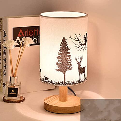 ZSH Lámpara de cabecera de Dormitorio Vintage Lámpara de Mesa de Ciervo Moderna Simple Pantalla de Tela Lámparas de Escritorio clásicas Creativas Sala de Estar de Estudio Decorativa 40W, E27,Wood