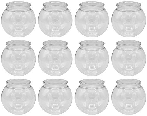 Creative Hobbies - 12 Pack - 4 Inch (100mm) Ivy Bowls Clear Plastic Shatterproof - Great For Fishbowl, Carnival Games, Candy, Party Favors, Table Centerpieces, Vase, Drinks