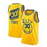 WGFI Golden State Warriors Trikot, 30 City Edition Bestickte Mesh Basketball Trikots Unisex Swingman T-Shirt Ärmelloses Sportwesten Top Yellow 19-XXL
