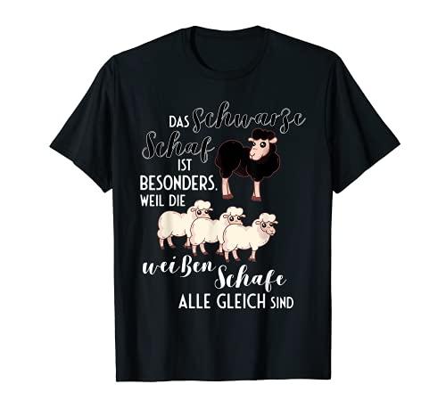 La oveja negra es especialmente negra con la frase de la oveja decorativa. Camiseta