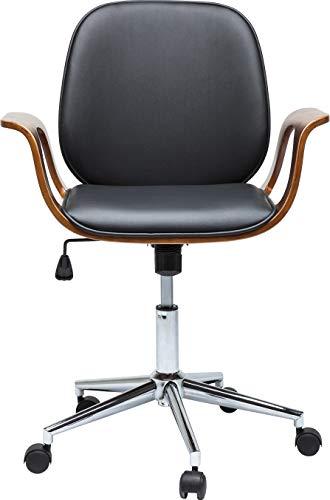 Kare Design Bürodrehstuhl Patron Walnut, moderner Schreibtischstuhl, PC-Drehsessel aus Kunstleder mit Armlehnen und Rollen, höhenverstellbar, schwarz-braun, bequem, (H/B/T) 101x66,5x56cm