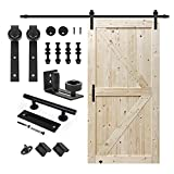 S&Z TOPHAND 42 in. x 84 in. Unfinished British Brace Knotty Barn Door with 8FT Sliding Door Hardware Kit/Solid Wood/Sliding Door/Double Surfaces/A Simple Assembly is Required (42, Door+J Shape)