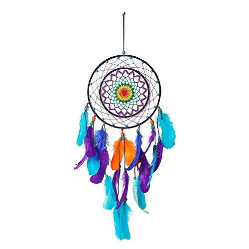 Tejer Atrapa Sueño Color Aros para Atrapasueños Hecho a Mano Dreams Catcher para Decoración Colgante De Coche De Pared, Regalo Artesanal,80x26cm