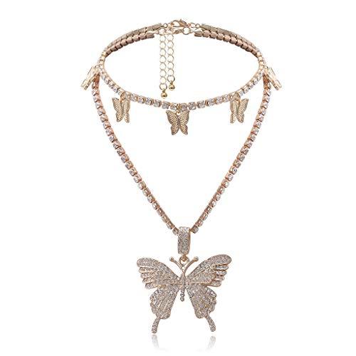 N/A. 2 colgantes de mariposa de cristal brillante con diseño de mariposa, 3D realista, con circonita cúbica realista, joyería de moda para niñas