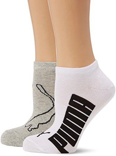 Puma Lifestyle, Sport Calzini da Donna, Bianco (White/Grey/Black), 35-38, Confezione 2 paia