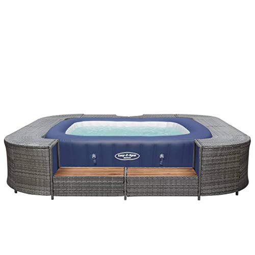 vidaXL Whirlpool Umrandung mit 2 hölzernen Spa-Stufen Spa Poolumrandung für Schwimmbecken Quadratisch Grau 268x268x55cm Poly Rattan