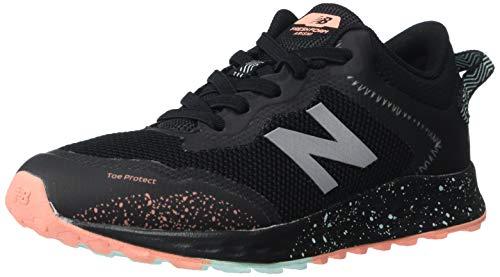 New Balance Girls' Arishi Trail V1 Fresh Foam Running Shoe, Black/Bali Blue/Ginger Pink, 7 M US Big Kid