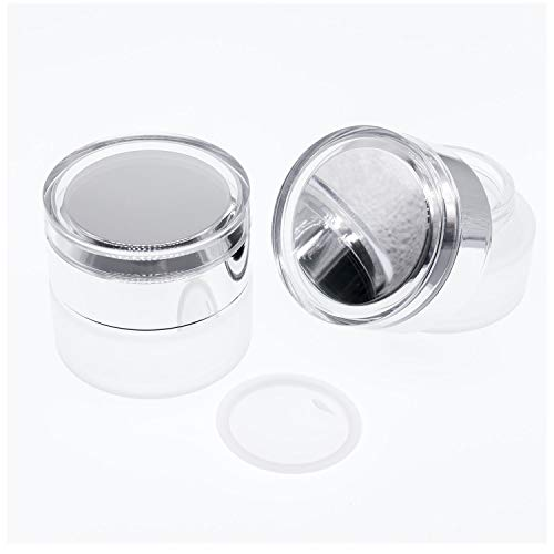 AKOAK 2 Pcs Refillable Frosted Glass Cosmetic Cream Jar Bottle Container,High-end Separate Bottles for Cosmetics with Silver Shiny Lid,Capacity 20g/0.67oz