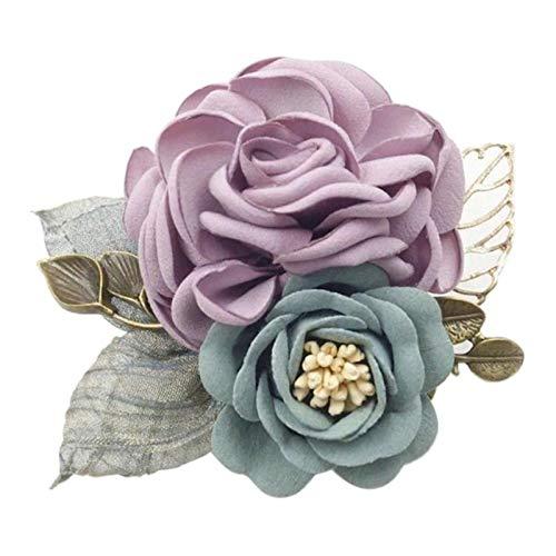 sharprepublic Ansteckblume Anstecker Pins Blumen Design Brosche Anstecknadel Abzeichen für Anzug Taschen Hüte zum Hochzeit Bankett Party - Lila