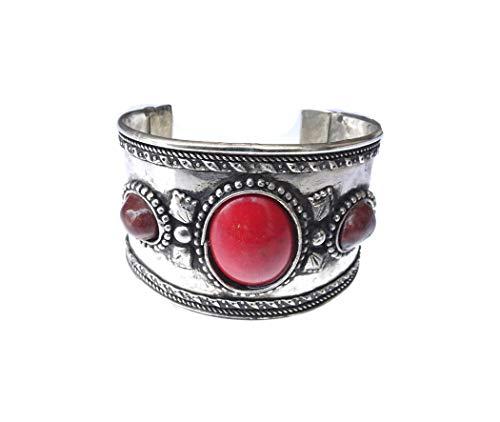 India Jewel Store Gemstone Red Onyx Hecho a Mano Estilo étnico Antiguo Pulsera de puño Vintage para Mujer Chica Unisex Gypsy Filigree Bohemia Ajustable Brazalete gótico Pulsera