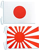 TOSPA 日本国旗と海軍旗のセットLサイズ 50×75cm テトロン製