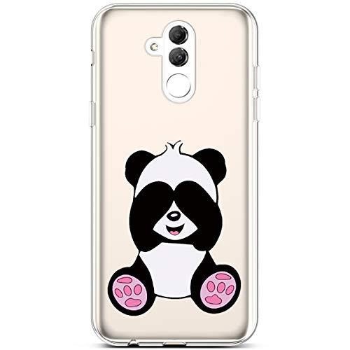 Jinghuash Kompatibel mit Huawei Mate 20 Lite Hülle Transparent TPU Silikon mit Muster Ultra Dünn Durchsichtig TPU Stoßfest Bumper Handyhülle Schutzhülle Tasche Case-Großer Panda