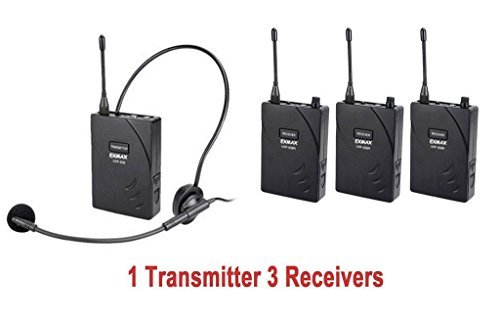 EXMAX UHF-938 UHF Acoustic Transmission Wireless Headset Microphone Audio Tour Guide System 433MHz for Church Translation Teaching Travel Simultaneous Interpretation.(1 Transmitter and 3 Receivers)