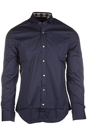 BURBERRY Camicia Manica Lunga Uomo Cambridge Bianco Azzurro Navy Nero Grigio (Navy, S)