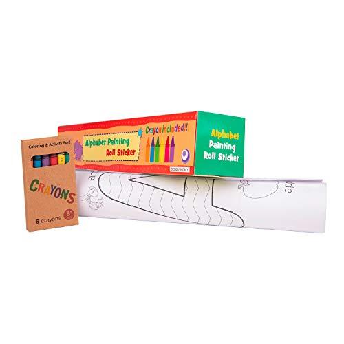 Selbstklebende Rolle mit Zeichnungen zum Malen Endlospapier für Kinder mit Buchstaben zum Ausmalen, ideal zum Basteln von Kindern. Perfekt als Geschenk (+3 Jahre) Wachsfarben enthalten