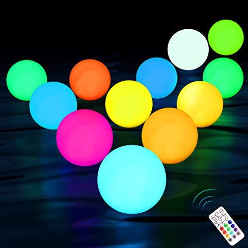 KJOY Upgrade 12pack Floating Pool Lights, RF Remote, Waterproof, Color Changing Glow Balls Lights, Battery Operated, Light Up Bath Toys, Night Light, Decor Lights Outdoor Indoor Christmas