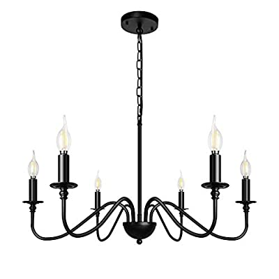ZOSIMIO Light 6-Light Chandeliers Black Farmhouse Classic Candle Ceiling Hanging Light Fixture Rustic Pendant Lighting for Kitchen Island, Dining Room, Living Room… (Black)