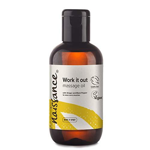 "Naissance""Work it Out"" - Aceite de Masaje Molestias Musculares 100ml – 100% natural: base de semillas de uva con aceites de jengibre, pimienta negra, romero, lemongrass, cilantro, lavanda y vetiver"