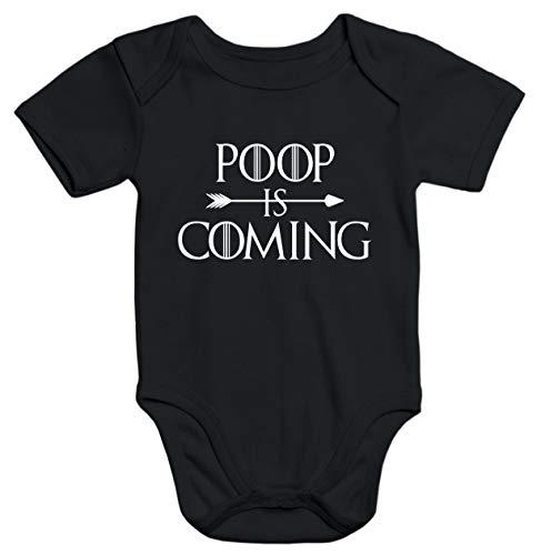 MoonWorks® Kurzarm Baby Body Poop is Coming lustig Spruch Baby Onesie Bio-Baumwolle schwarz 3-6 Monate