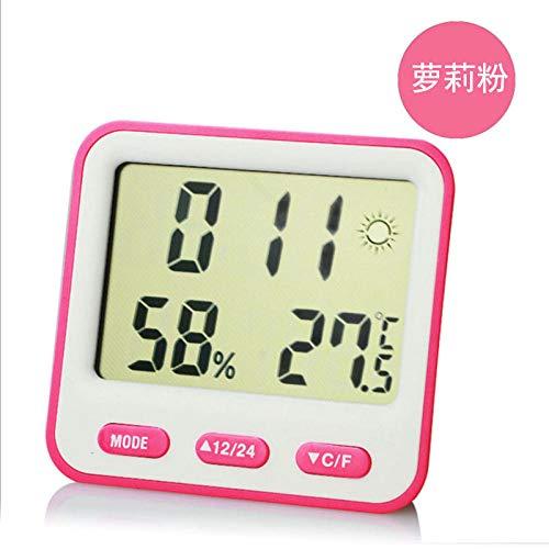 hlyhly Alarm Clock Clocks Neues Thermo-Hygrometer Multifunktion Mit Wetteranzeige Großbild-Loli-Pulver