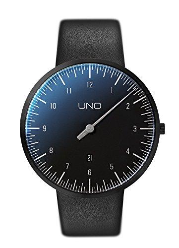 Botta-Design UNO Plus Black Edition Herren-Einzeigeruhr Analog Schweizer Quarzwerk mit Lederarmband 710000