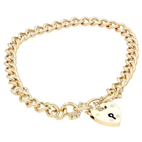 Jollys Jewellers Pulsera de oro amarillo de 9 quilates para mujer, con candado de corazón y cadena de seguridad