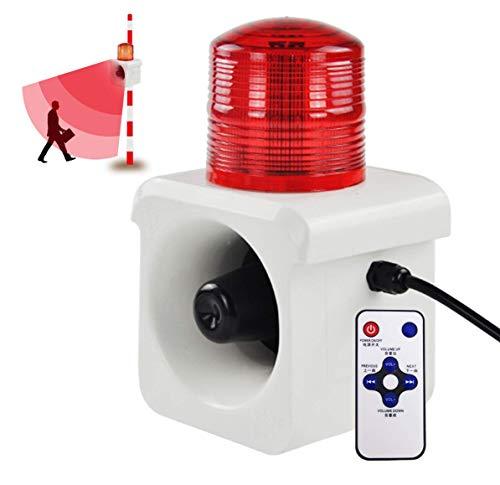 YJINGRUI 12V Sirena Alarma Estroboscópica Impermeable 120dB Alarma Sonido y Luz con Mando Infrarrojo Inducción de Microondas Voz personalizada Sistema de seguridad (12V)