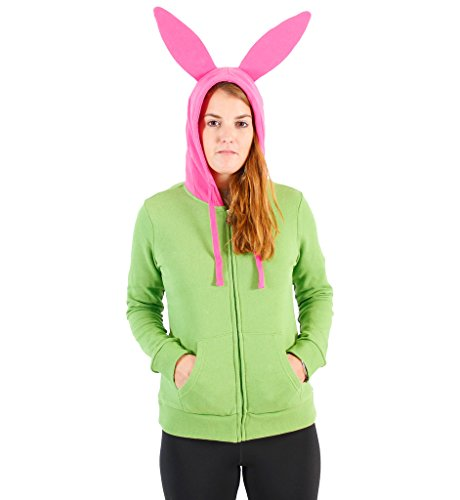 Ripple Junction Bob's Burgers Louise Costume Junior Zip Hoodie Large Green