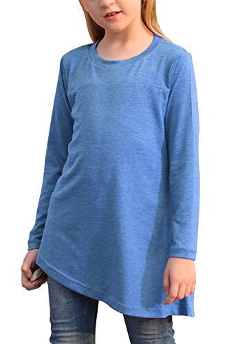 GORLYA - playera de manga larga para niña, con botones en el lateral, holgada, para niños de 4 a 14 años, Azul, 11-12 Años
