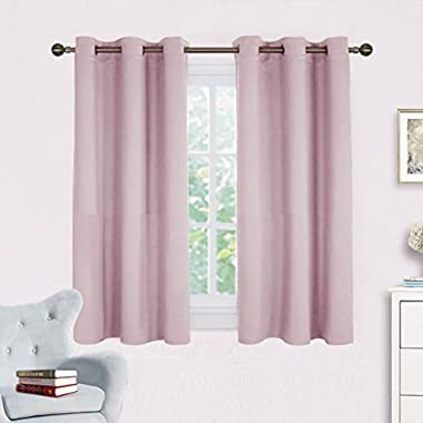 NICETOWN Blackout Curtain Panels for Girls Room, Nursery Essential Thermal Insulated Solid Grommet Top Blackout Drapes (Baby Pink=Lavender Pink, 1 Pair,42 x 45 Inch)
