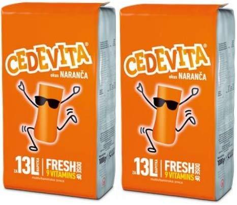Cedevita sinaasappel 2 x 1 kg naranca bruisend poeder met 9 vitamines voor 26L alcoholvrije dranken