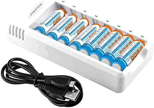 Cargador de batería inteligente, 8 bahías AA AAA cargador de batería con 4 baterías recargables AA de 2800 mAh y 4 baterías recargables AAA de 1100 mAh para baterías recargables Ni-MH Ni-Cd