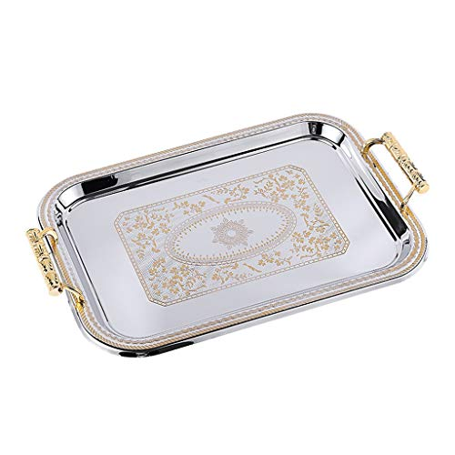Nordic Luxuxgaststätte Tablett rechteckiger oval Speicher Snack-Fach ( Color : Gold )