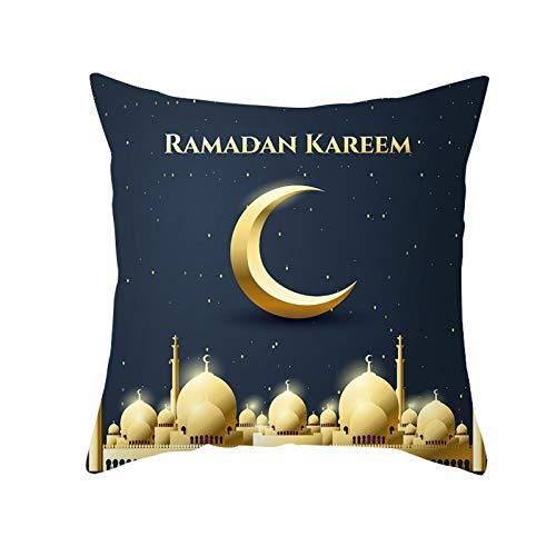QPOWY Federa Federa Musulmana Cuscini del Divano Ramadan federe Cuscini in Poliestere Decorazioni per la casa coperture 45 * 45