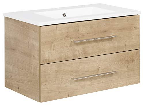 FACKELMANN Waschtischunterschrank inkl. Keramikbecken B.PERFEKT/Soft-Close-System/Maße (B x H x T): ca. 82 x 51 x 48 cm/Waschbeckenunterschrank & Waschtisch/Schrank: Braun/Becken: Weiß
