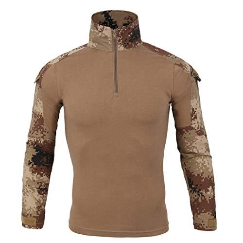 Camiseta táctica de la Rana de Camuflaje, Hombres Senderos de Secado rápido Pesca Pesca Transicio Caza, Manga Larga Militar T Shirts Desert-1 XXL