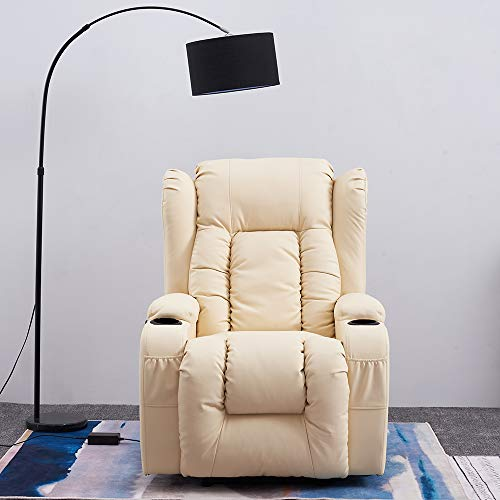Panana Electric Recliner Chairs Real Bonded Leather Armchair Wind Back Massage Chair Swivel Heated Gaming Adjutable Reclining Chair Single Leather Sofa for Living Room Office Lounge (Cream)